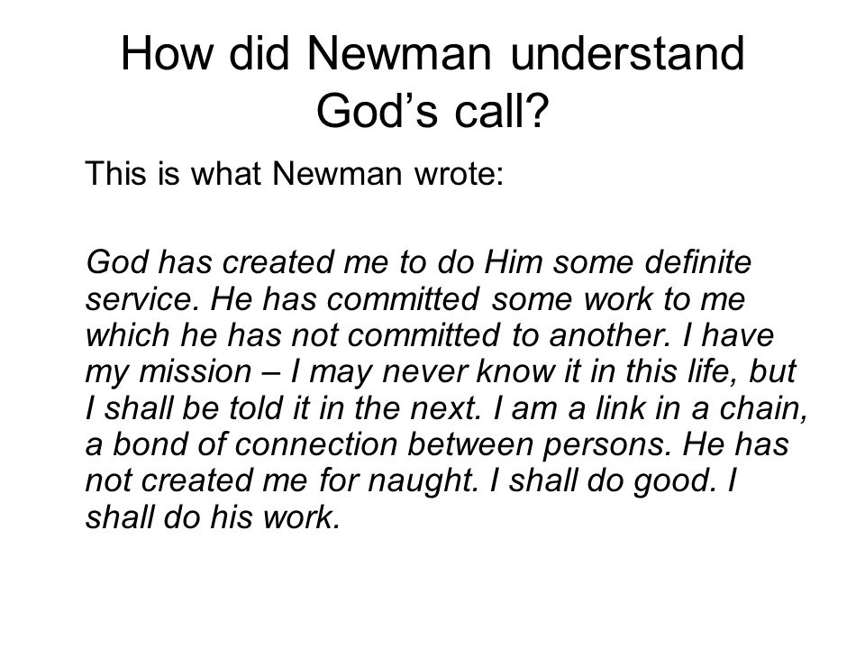 How did Newman understand God's call