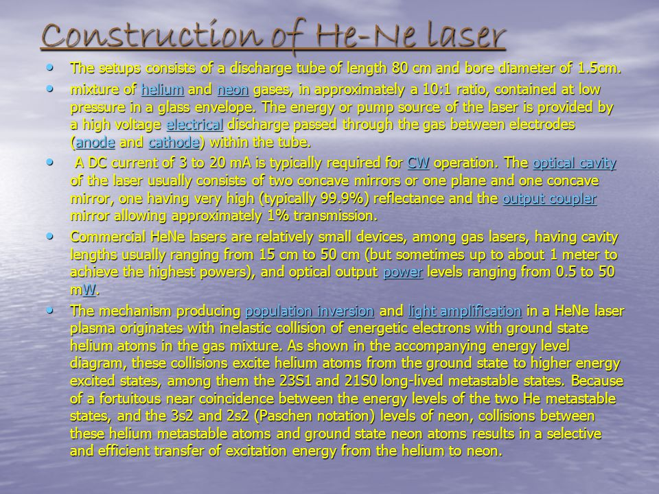 Construction of He-Ne laser