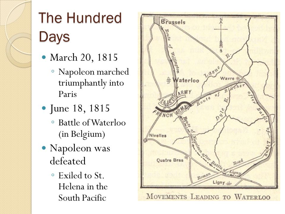 The Hundred Days March 20, 1815 June 18, 1815 Napoleon was defeated