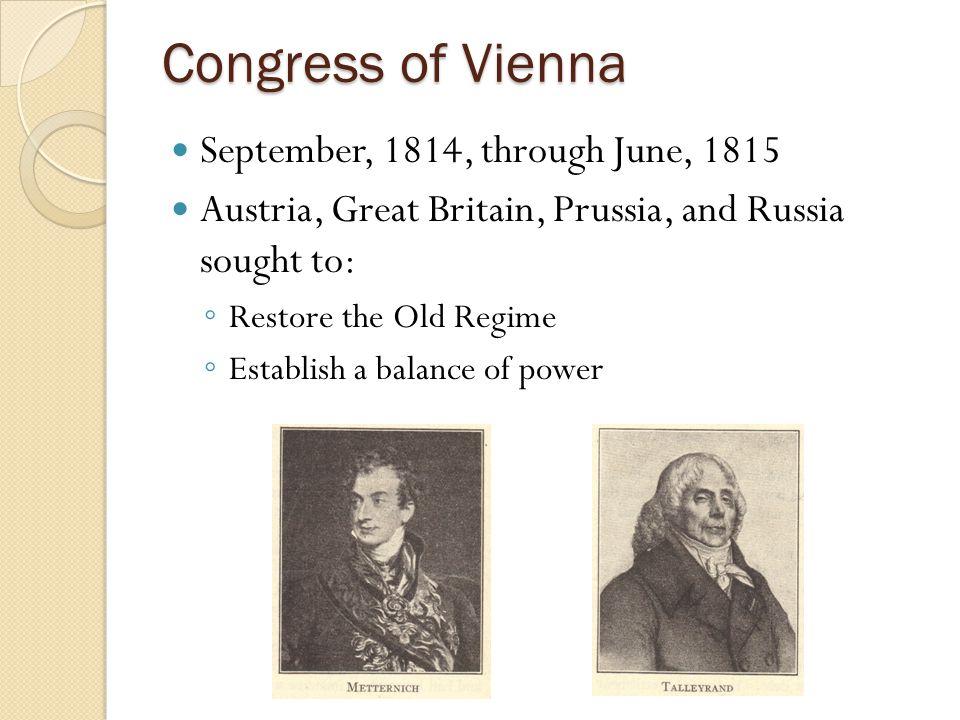 Congress of Vienna September, 1814, through June, 1815