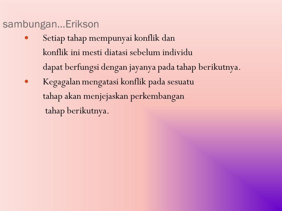 sambungan…Erikson Setiap tahap mempunyai konflik dan