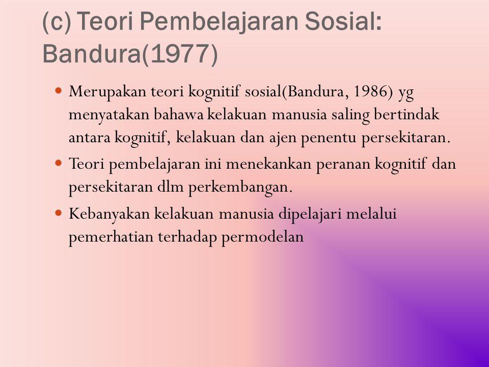 (c) Teori Pembelajaran Sosial: Bandura(1977)