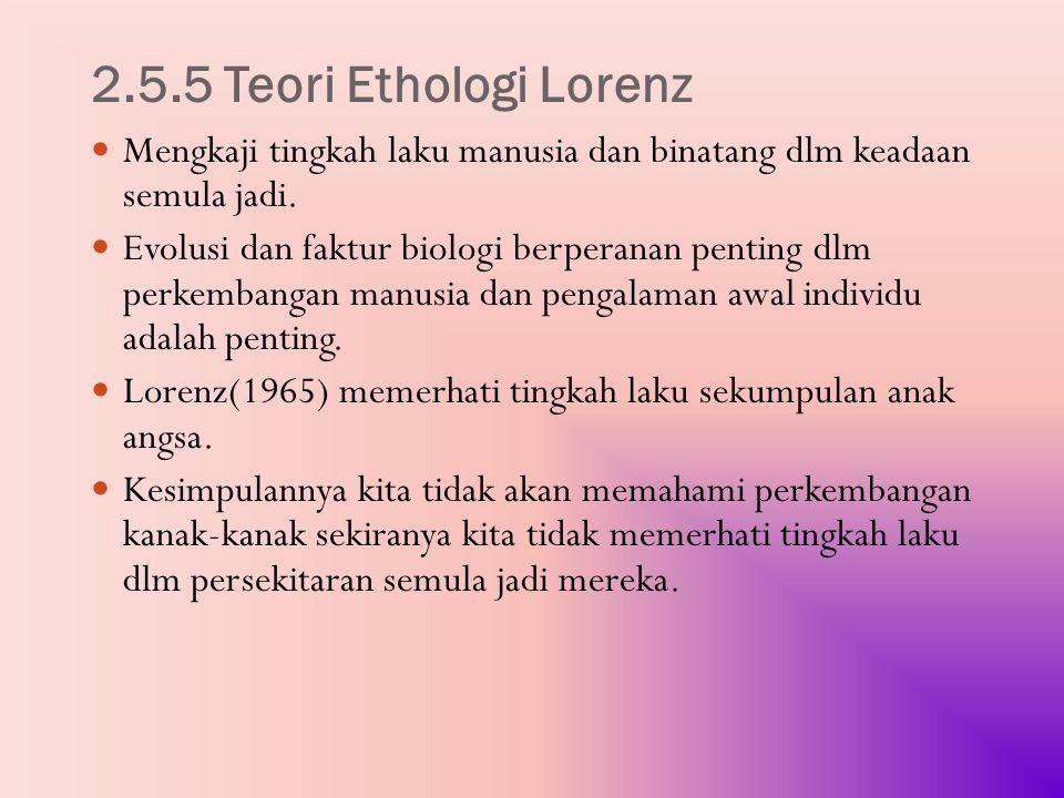 2.5.5 Teori Ethologi Lorenz Mengkaji tingkah laku manusia dan binatang dlm keadaan semula jadi.