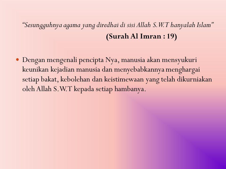 Sesungguhnya agama yang diredhai di sisi Allah S.W.T hanyalah Islam