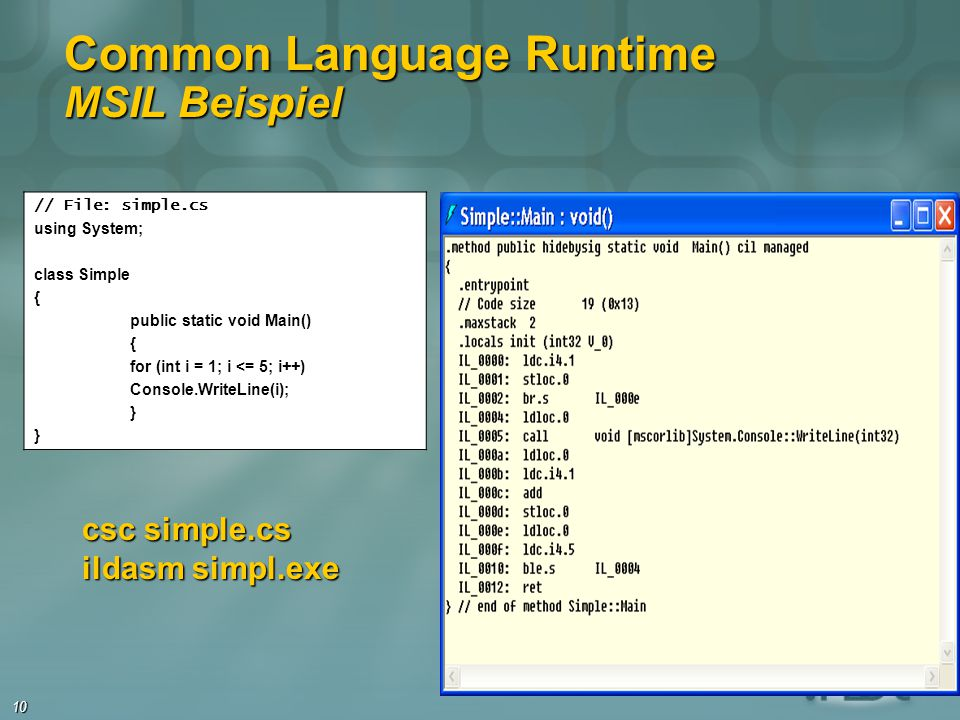 Common Language Runtime MSIL Beispiel