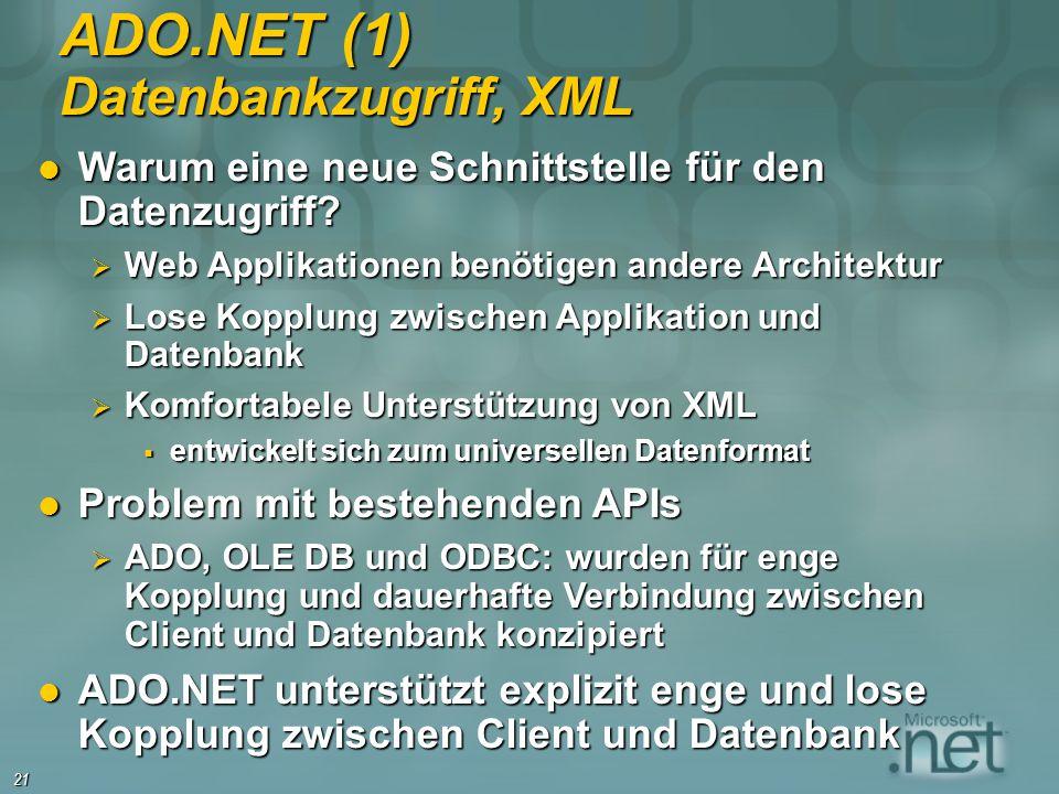 ADO.NET (1) Datenbankzugriff, XML
