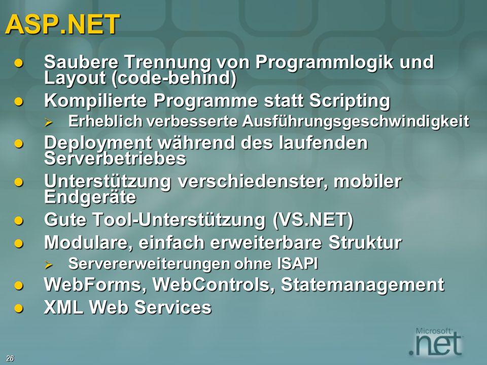 ASP.NET Saubere Trennung von Programmlogik und Layout (code-behind)