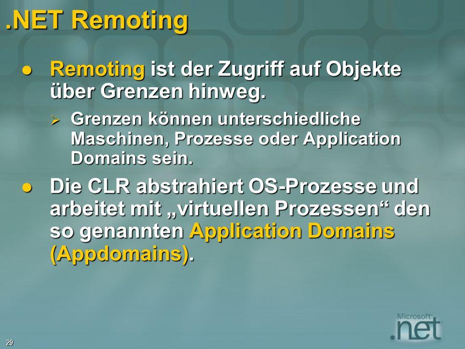.NET Remoting Remoting ist der Zugriff auf Objekte über Grenzen hinweg.