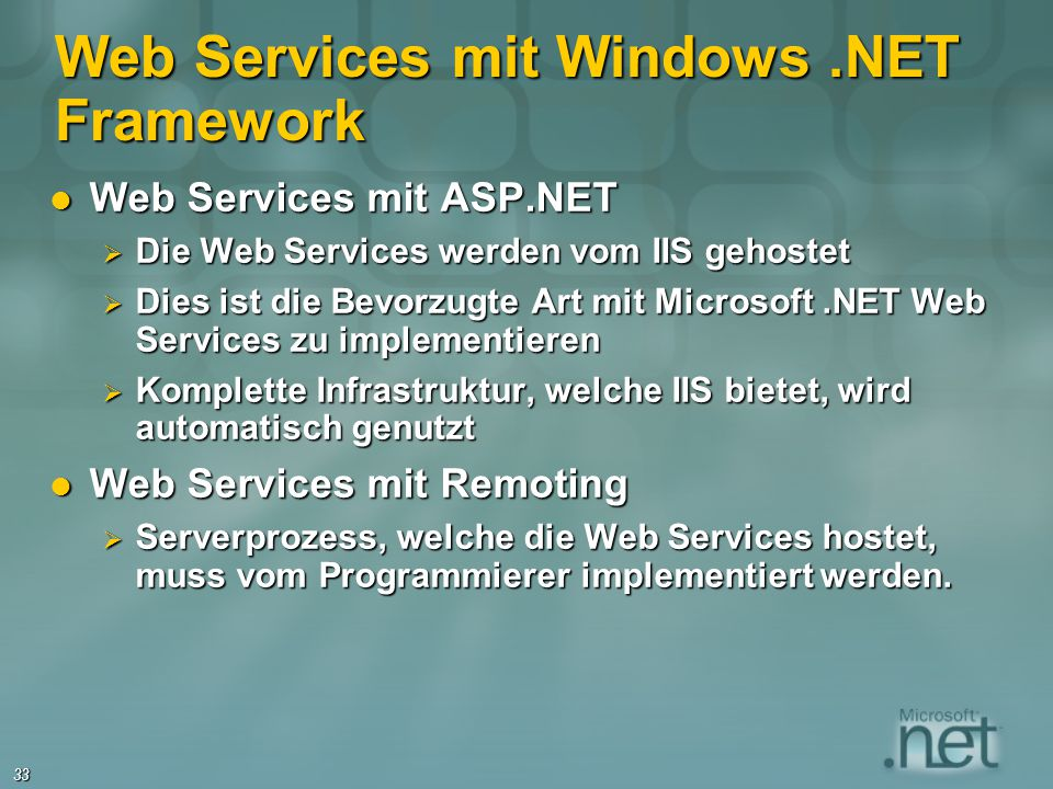 Web Services mit Windows .NET Framework