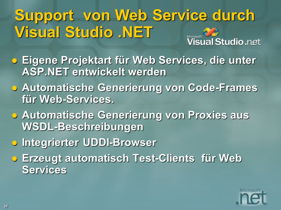 Support von Web Service durch Visual Studio .NET