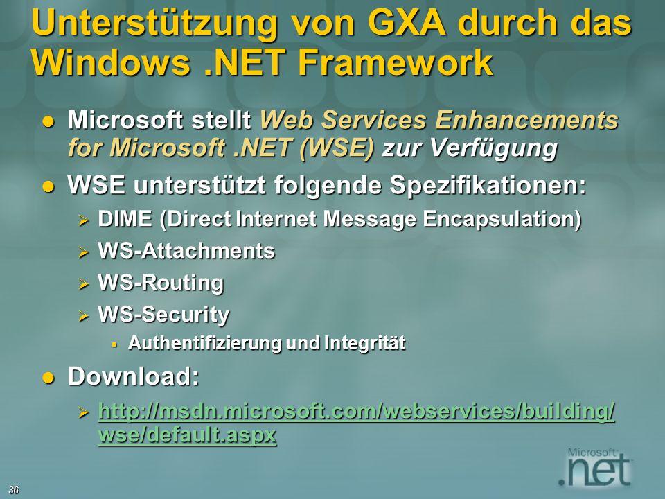 Unterstützung von GXA durch das Windows .NET Framework