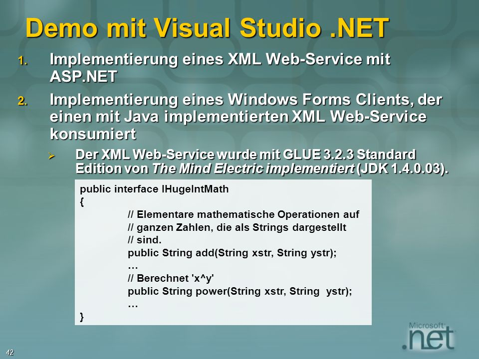Demo mit Visual Studio .NET