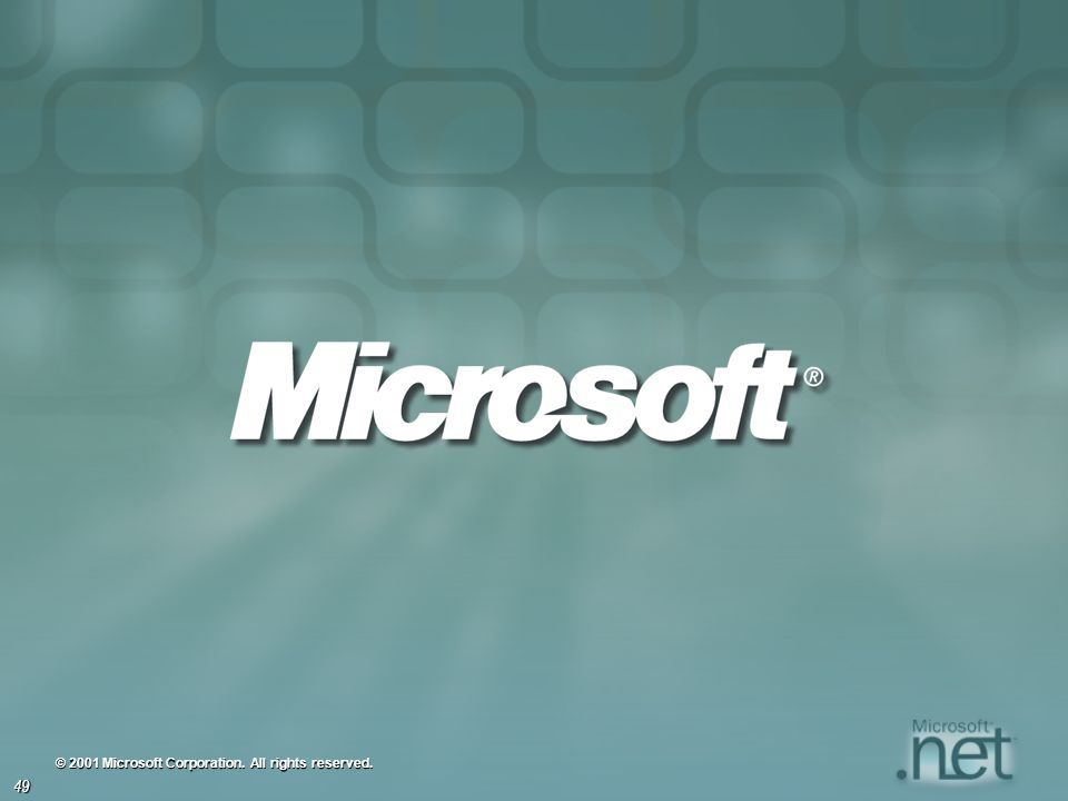 © 2001 Microsoft Corporation. All rights reserved.