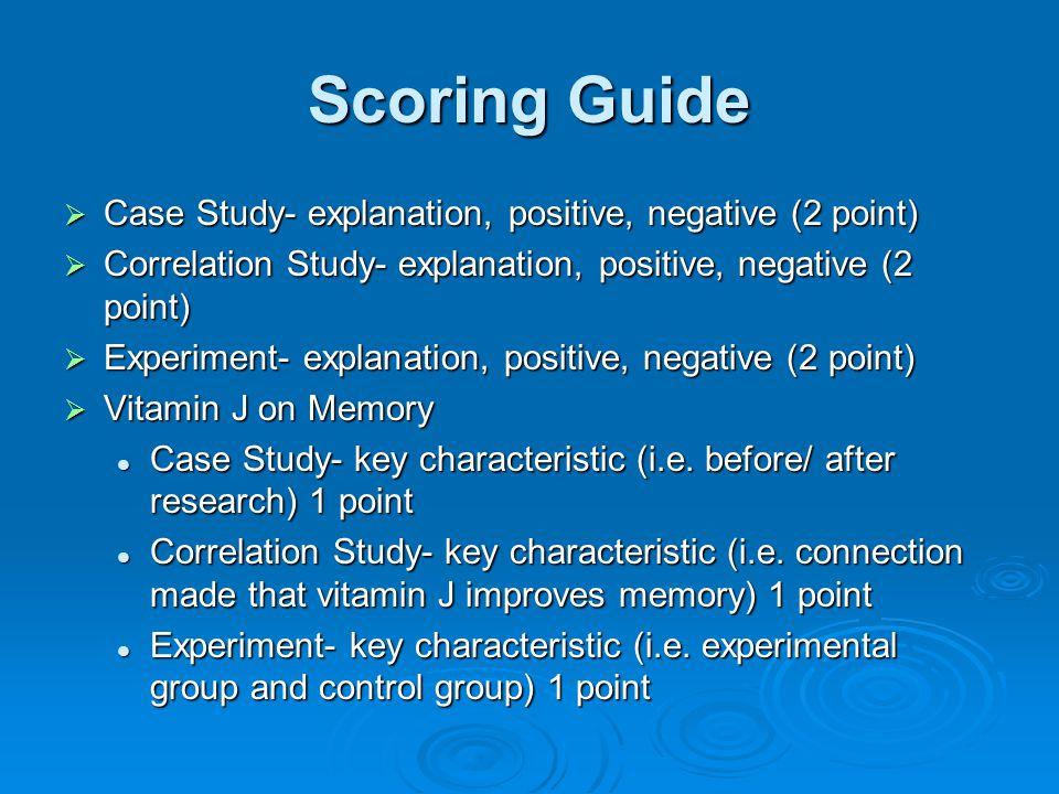 Scoring Guide Case Study- explanation, positive, negative (2 point)