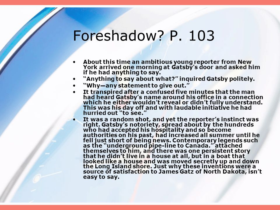 Foreshadow P. 103