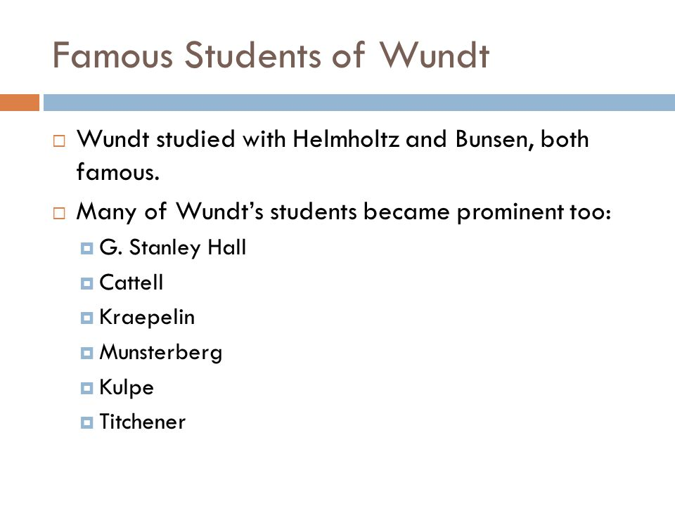 Famous Students of Wundt