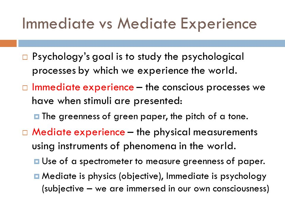 Immediate vs Mediate Experience