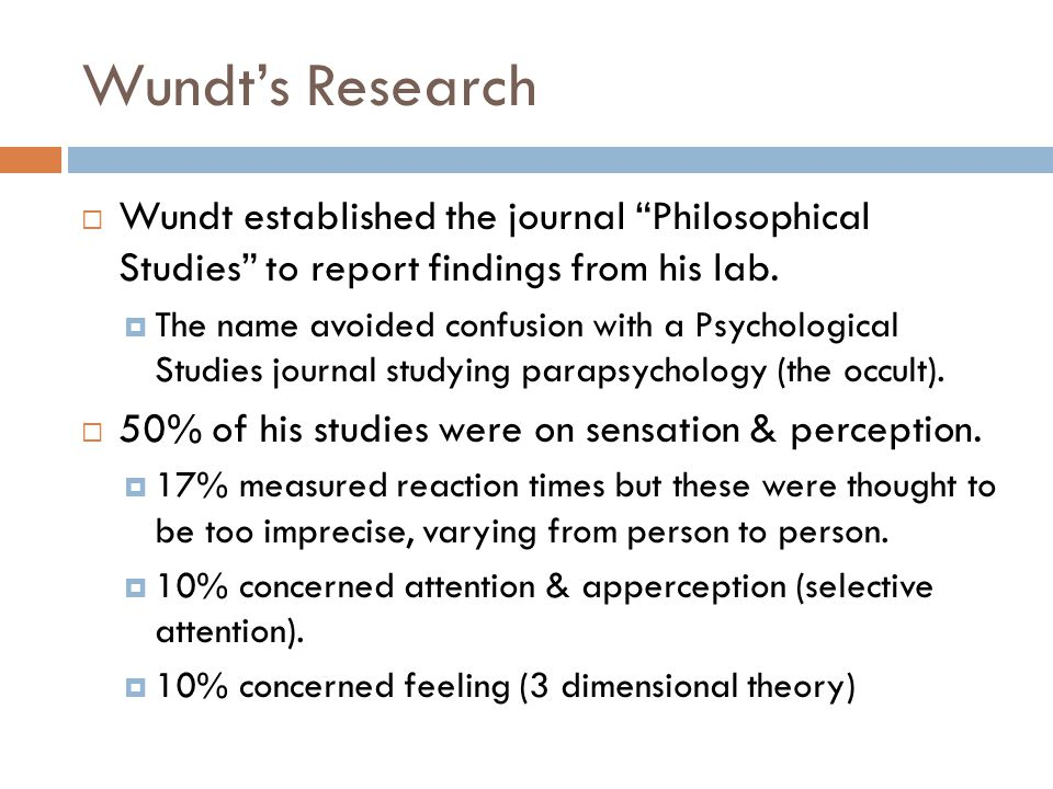 Wundt's Research Wundt established the journal Philosophical Studies to report findings from his lab.