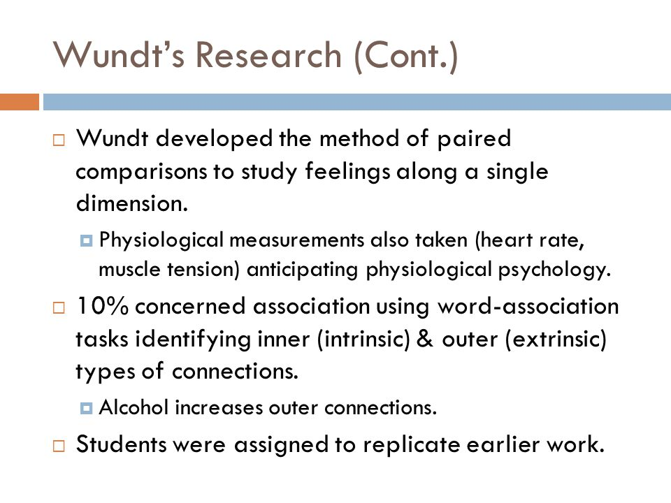 Wundt's Research (Cont.)