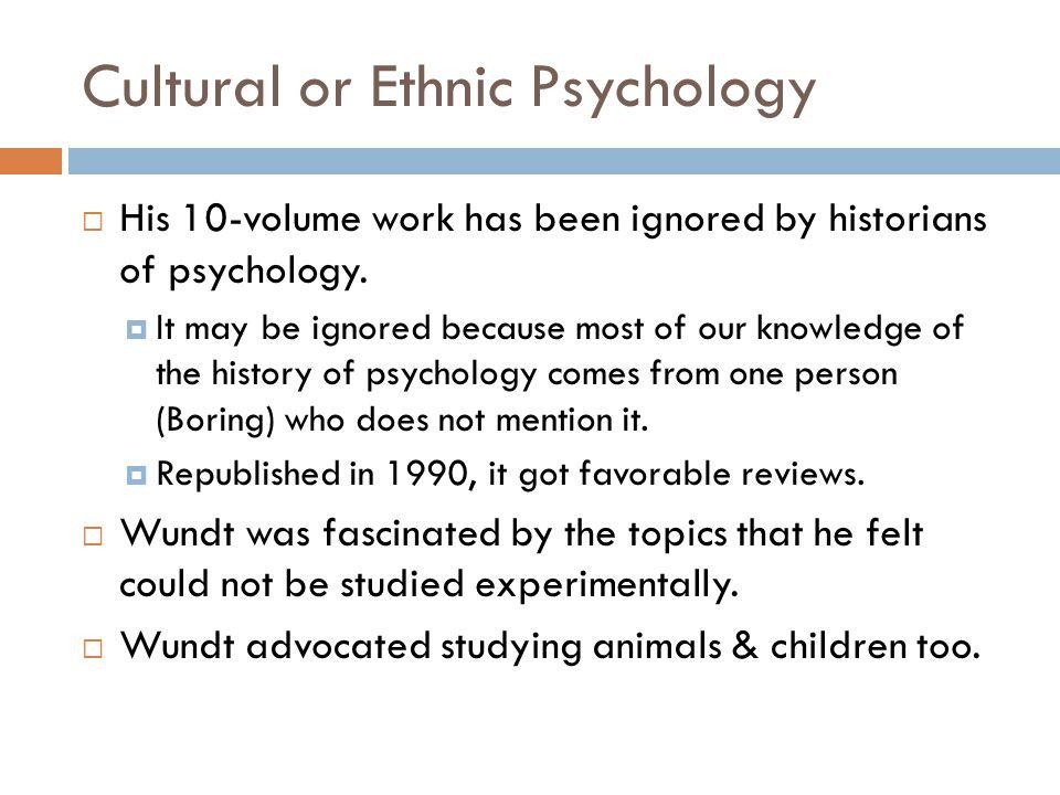 Cultural or Ethnic Psychology