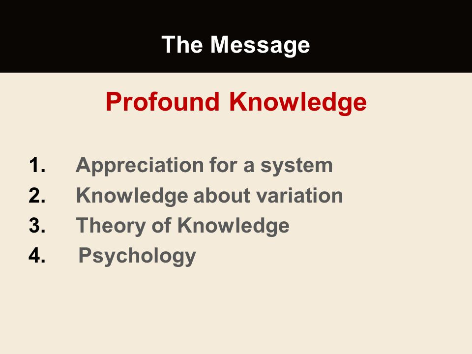 Profound Knowledge The Message Appreciation for a system
