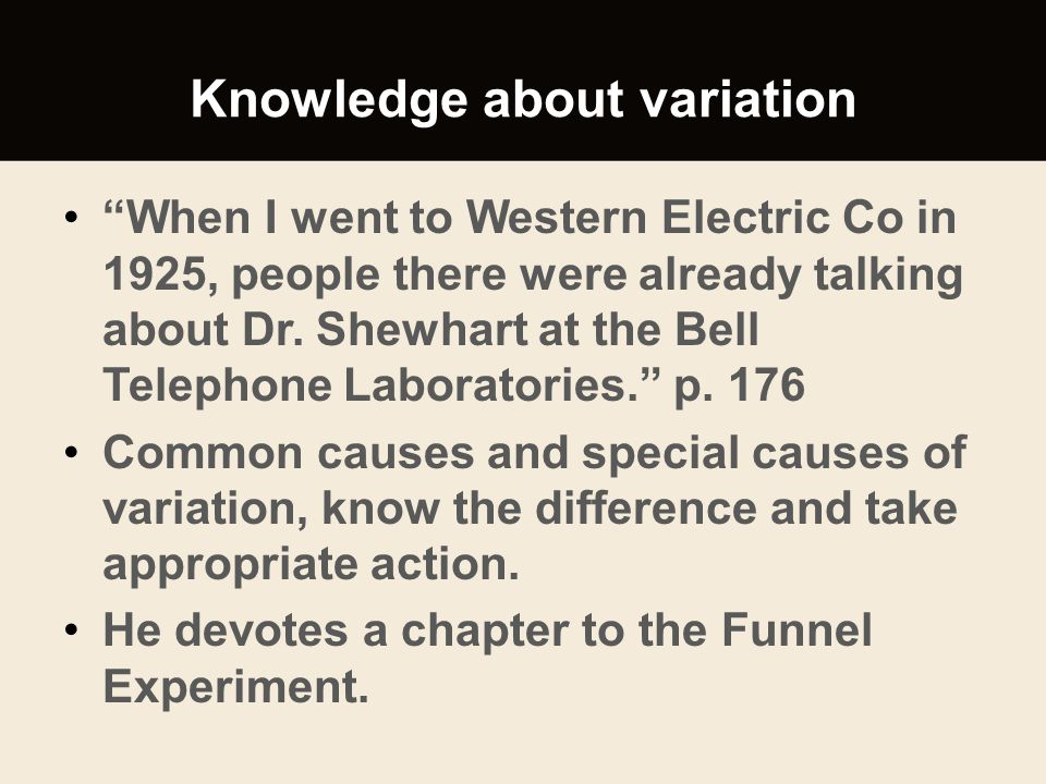 Knowledge about variation