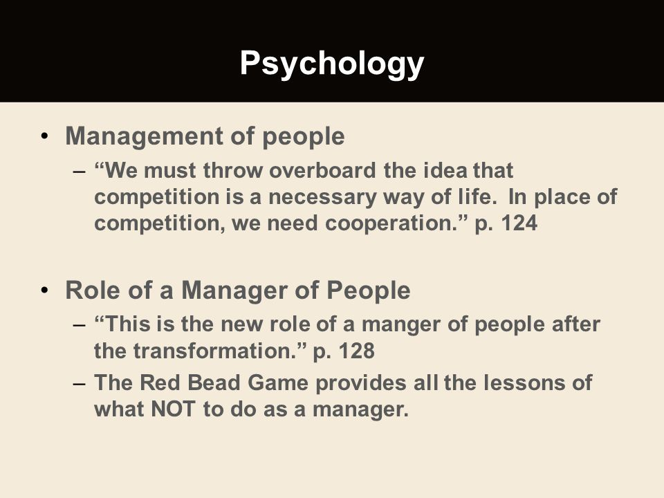 Psychology Management of people Role of a Manager of People
