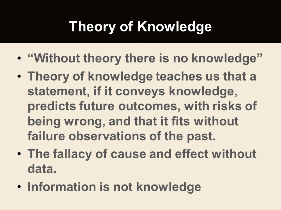 Theory of Knowledge Without theory there is no knowledge