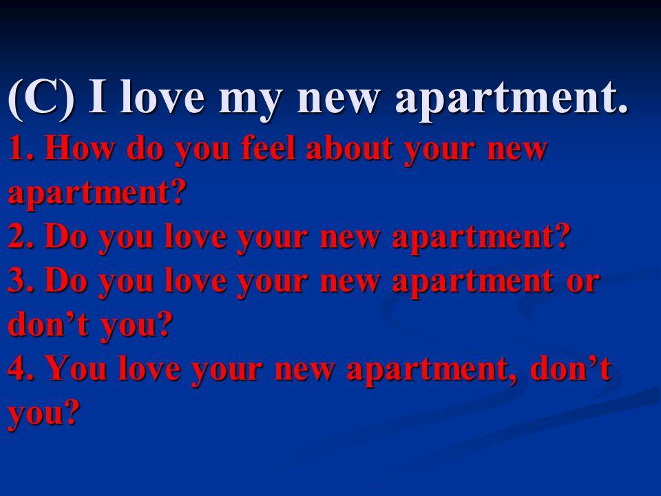 (C) I love my new apartment. 1