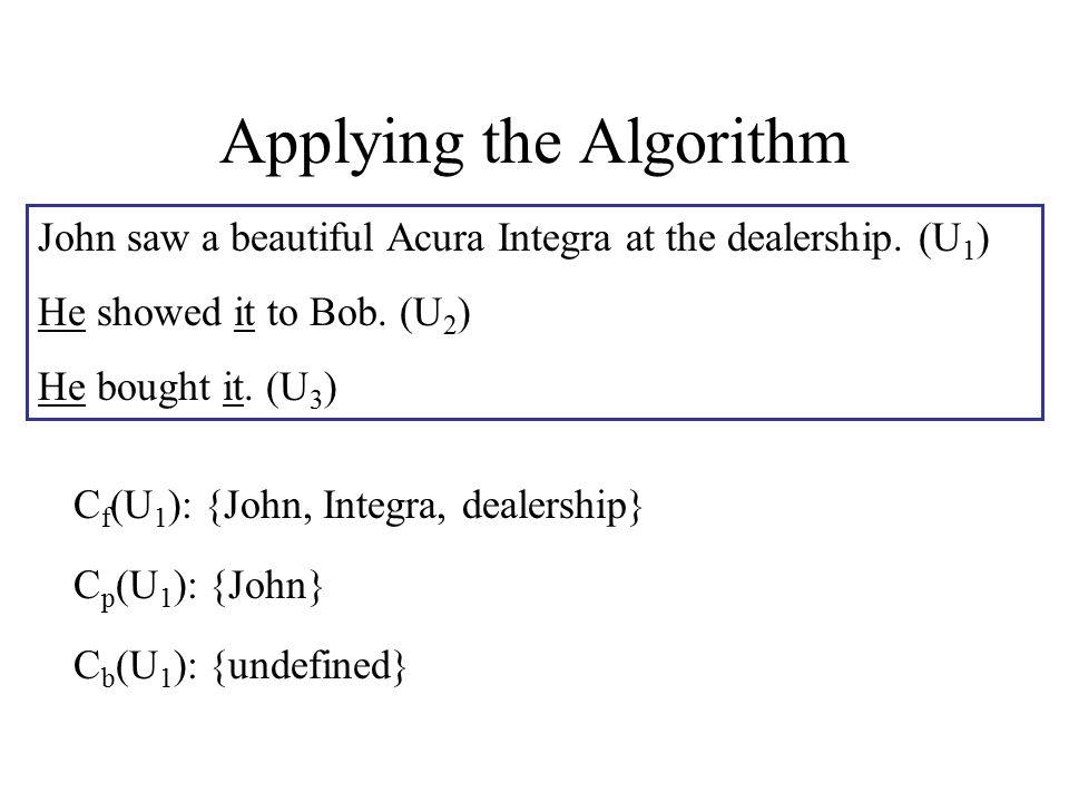 Applying the Algorithm