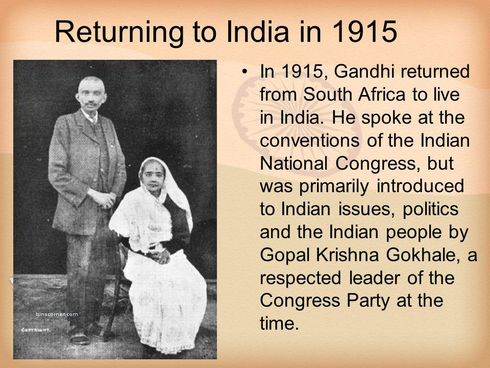 Returning to India in 1915