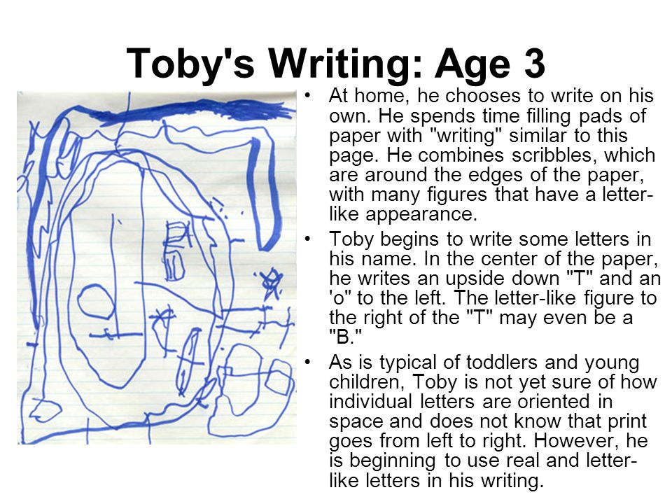 Toby s Writing: Age 3
