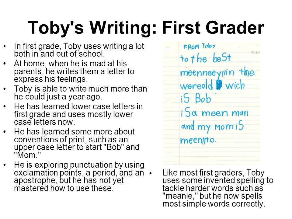Toby s Writing: First Grader