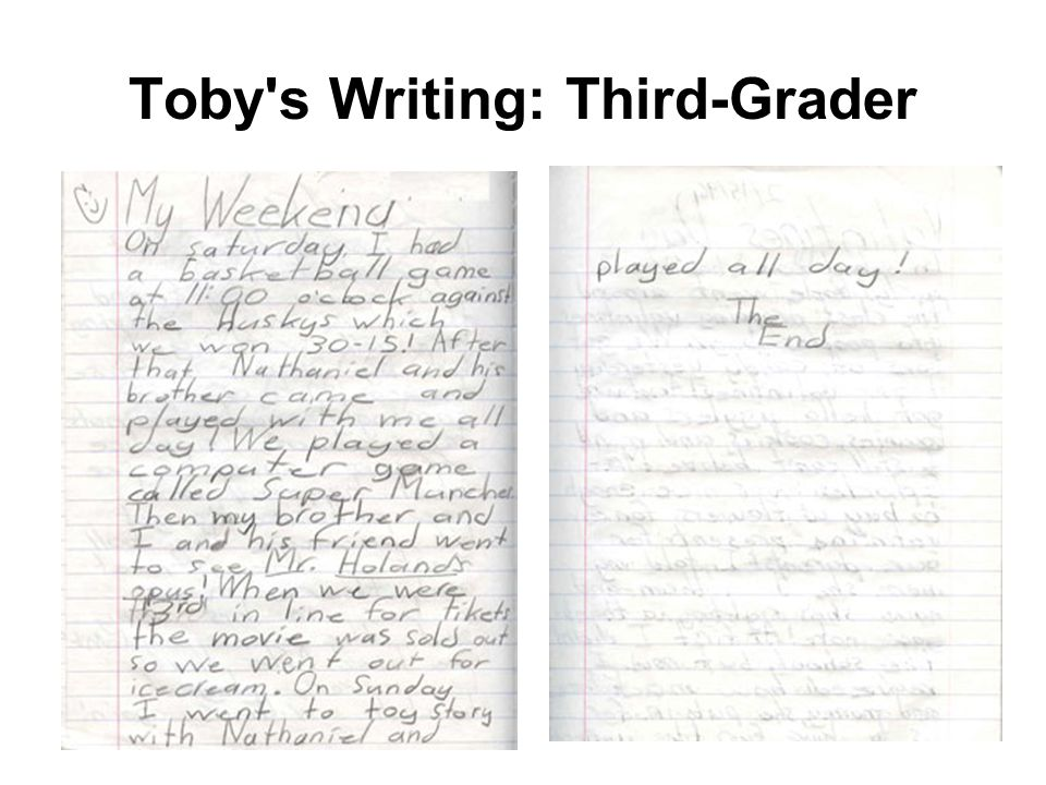 Toby s Writing: Third-Grader