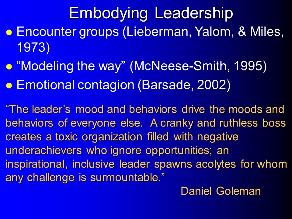 Embodying Leadership Encounter groups (Lieberman, Yalom, & Miles, 1973) Modeling the way (McNeese-Smith, 1995)