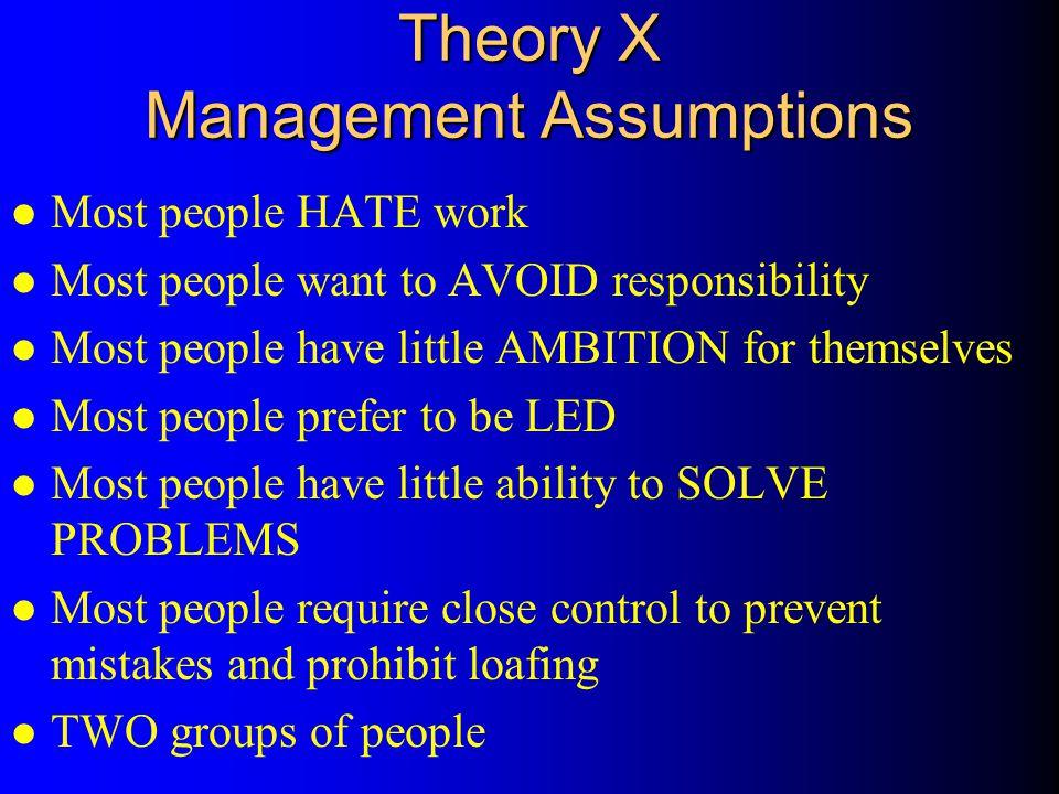 Theory X Management Assumptions