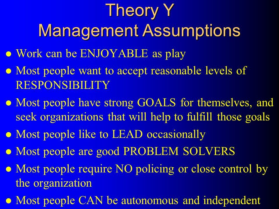 Theory Y Management Assumptions