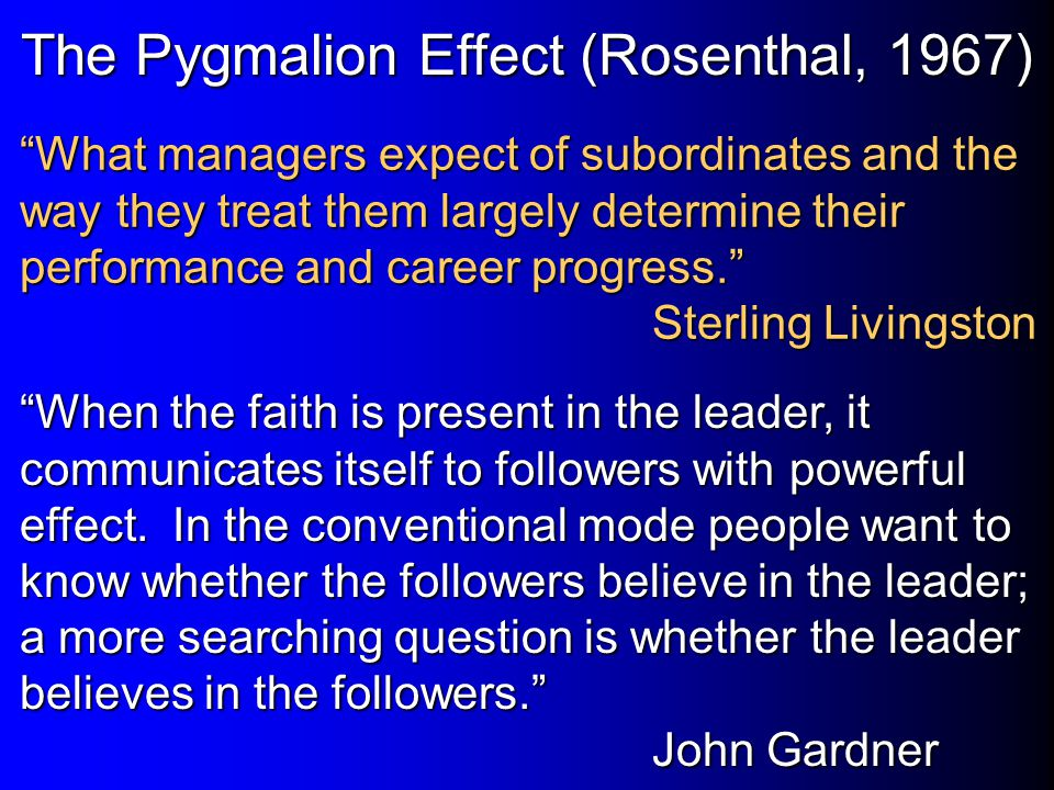 The Pygmalion Effect (Rosenthal, 1967)