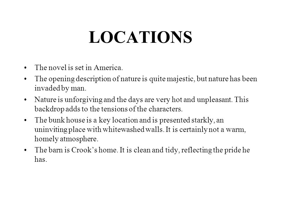 LOCATIONS The novel is set in America.
