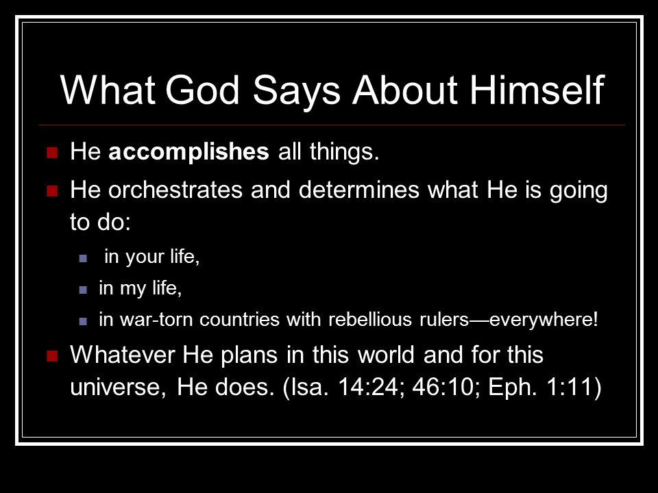 What God Says About Himself
