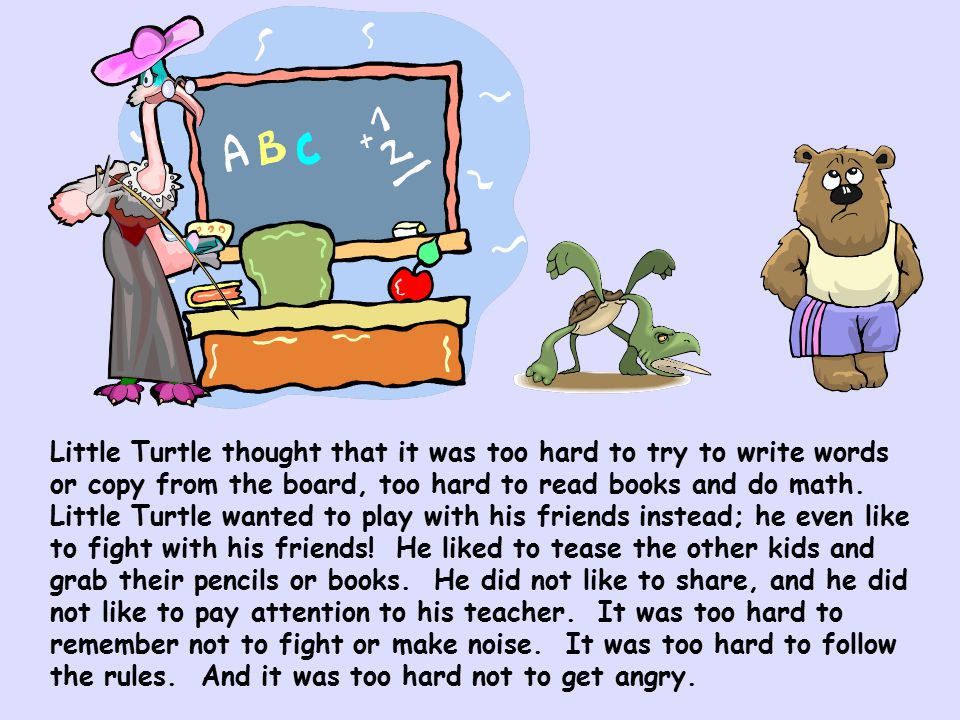 Little Turtle thought that it was too hard to try to write words or copy from the board, too hard to read books and do math.