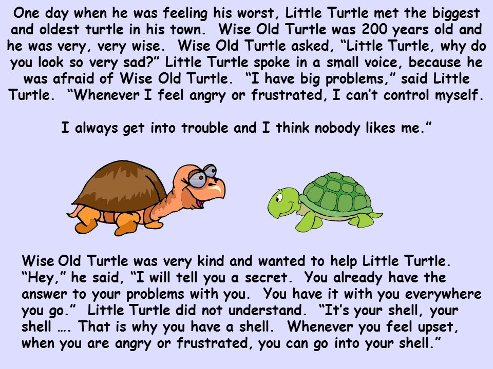 One day when he was feeling his worst, Little Turtle met the biggest and oldest turtle in his town. Wise Old Turtle was 200 years old and he was very, very wise. Wise Old Turtle asked, Little Turtle, why do you look so very sad Little Turtle spoke in a small voice, because he was afraid of Wise Old Turtle. I have big problems, said Little Turtle. Whenever I feel angry or frustrated, I can't control myself. I always get into trouble and I think nobody likes me.