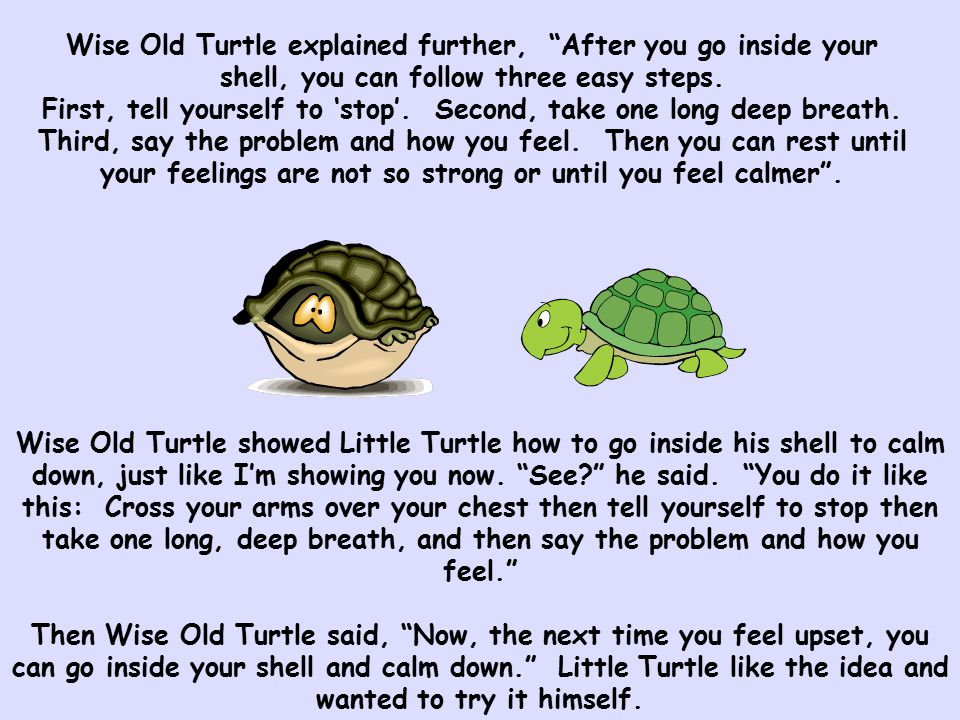 Wise Old Turtle explained further, After you go inside your shell, you can follow three easy steps. First, tell yourself to 'stop'. Second, take one long deep breath. Third, say the problem and how you feel. Then you can rest until your feelings are not so strong or until you feel calmer .