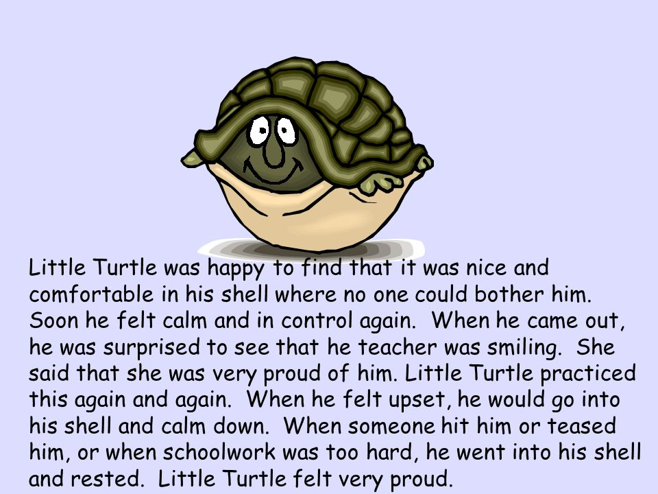 Little Turtle was happy to find that it was nice and comfortable in his shell where no one could bother him.