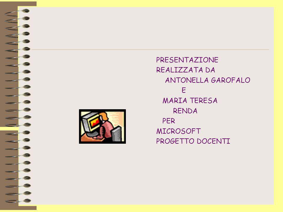 PRESENTAZIONE REALIZZATA DA ANTONELLA GAROFALO E MARIA TERESA RENDA PER MICROSOFT PROGETTO DOCENTI