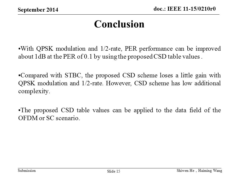 Conclusion With QPSK modulation and 1/2-rate, PER performance can be improved about 1dB at the PER of 0.1 by using the proposed CSD table values .