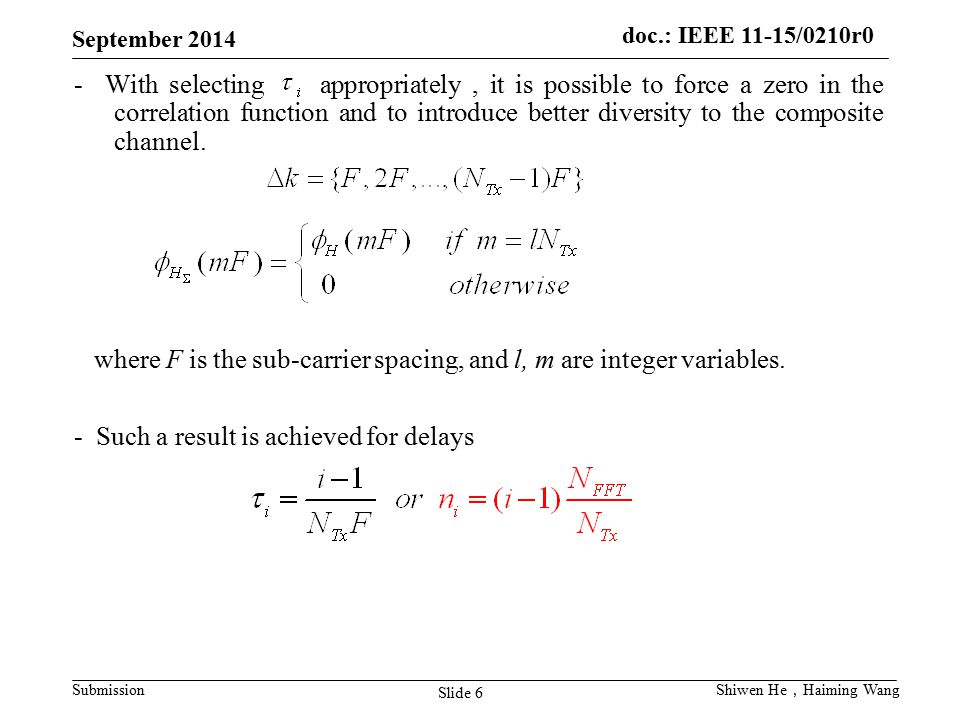 where F is the sub-carrier spacing, and l, m are integer variables.