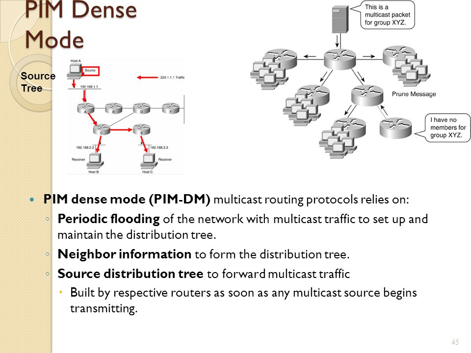 PIM Dense Mode Source Tree. PIM dense mode (PIM-DM) multicast routing protocols relies on: