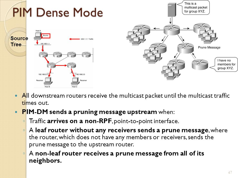 PIM Dense Mode Source Tree. All downstream routers receive the multicast packet until the multicast traffic times out.
