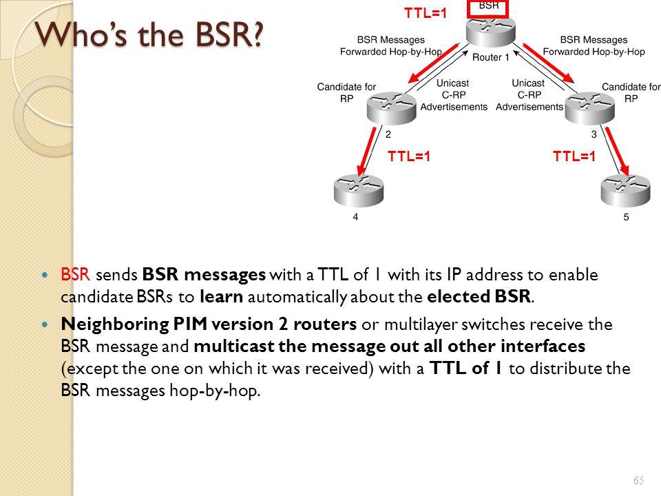 TTL=1 Who's the BSR TTL=1. TTL=1.